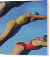 3 Lady Swimmers Wood Print