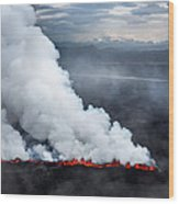 Lava And Plumes From The Holuhraun Wood Print