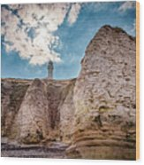 Lighthouse On The Cliff Wood Print