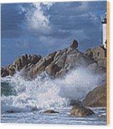 Lighthouse On The Coast, Pontusval Wood Print