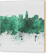 Lincoln Skyline In Watercolor Background Wood Print