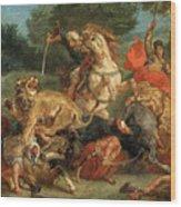 Lion Hunt Wood Print