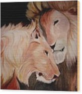 Lion's Love Wood Print