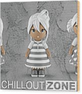 3 Little 3d Girls In Chilloutzone Wood Print