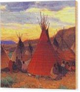lrs Sharp Joseph Henry Evening Crow Reservation Joseph Henry Sharp Wood Print