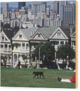 Man And Dog In Alamo Square In San Francisco Wood Print