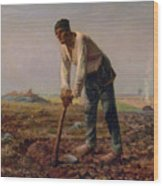 Man With A Hoe Wood Print
