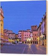 Mantova City Piazza Delle Erbe Evening View Panorama Wood Print