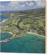 Maui Aerial Of Kapalua Wood Print