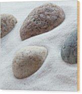 Meditation Stones On White Sand Wood Print