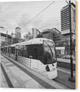 metrolink trams at mediacity station Manchester uk Wood Print