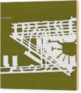 Mia Miami International Airport In Miami Florida Usa Runway Silh Wood Print