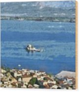 Nafplio Town And Bourtzi Fortress Wood Print
