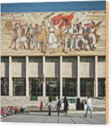 National Historical Museum Landmark And Mosaic Mural In Tirana A Wood Print