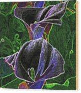 3 Neon Calla Lillies Wood Print
