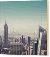 New York Manhattan Skyline At Sunset Wood Print