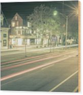 Newport Rhode Island City Streets In The Evening Wood Print