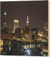 Nightlife In Cleveland Wood Print