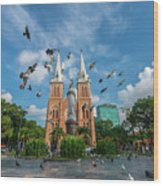 Notre-dame Cathedral Basilica Of Saigon, Officially Cathedral Basilica Of Our Lady Of The Immaculate Wood Print