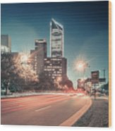 November, 2017, Charlotte, Nc, Usa - Early Morning In The City O Wood Print