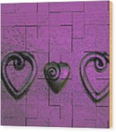 3 Of Hearts Wood Print