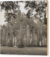 Old Sheldon Church Ruins Wood Print