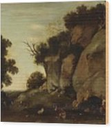 Pastoral Scene At The Cave Wood Print