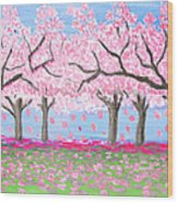 Pink Garden, Oil Painting Wood Print