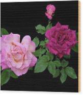 3 Pink Roses Cutout Wood Print