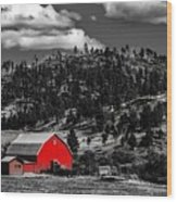 Red Barn In Wyoming Wood Print