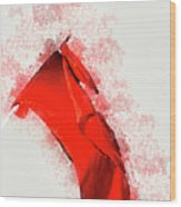 Red Flag On Black Background Wood Print
