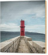 Red Lighthouse Of Cres On A Cloudy Day In Spring Wood Print