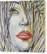 Red Lipstick 081208 Wood Print