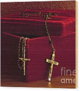 Red Velvet Box With Cross And Rosary Wood Print