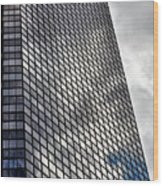 Reflective Glass And Metal Building Wood Print