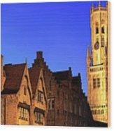 River Dijver And The Belfort At Night, Rozenhoedkaai, Bruges Wood Print