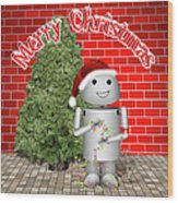 Robo-x9 Wishes A Merry Christmas Wood Print