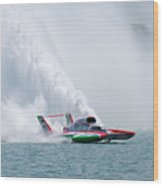 Roostertail From Racing Hydroplanes Boats On The Detroit River For Gold Cup Wood Print