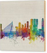 Rotterdam The Netherlands Skyline Wood Print