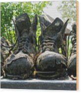 Row Of Old Leather Worn Out Shoes  Wood Print