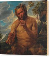 Satyr Playing The Pipe Wood Print