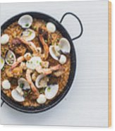 Seafood And Rice Paella Traditional Spanish Food Wood Print