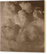 Sepia Clouds Wood Print