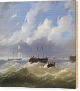 Ships On A Stormy Sea Wood Print