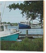 3 Shrimp Boat At Billys Wood Print
