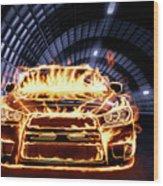 Sports Car In Flames Wood Print