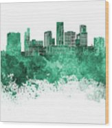 St. Paul Skyline In Watercolor Background Wood Print