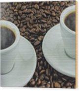 Steaming Coffee  Wood Print