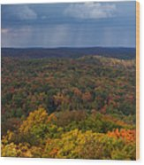 Storm Clouds Over Fall Nature Scenery Wood Print