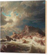 Stormy Sea With Ship Wreck Wood Print